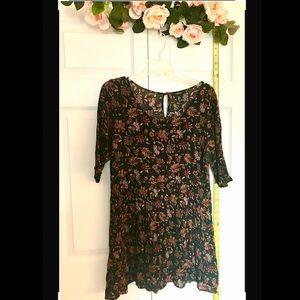 L black floral mini/tunic